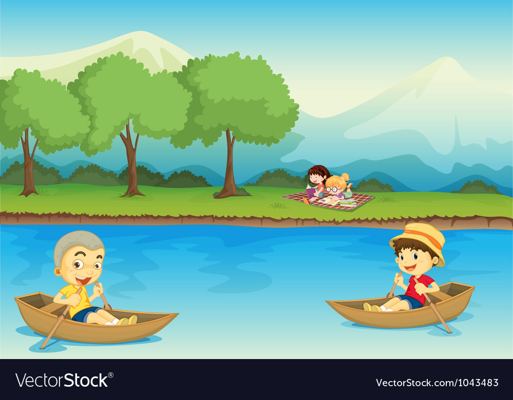 Canoe children background vector | Price: 1 Credit (USD $1)