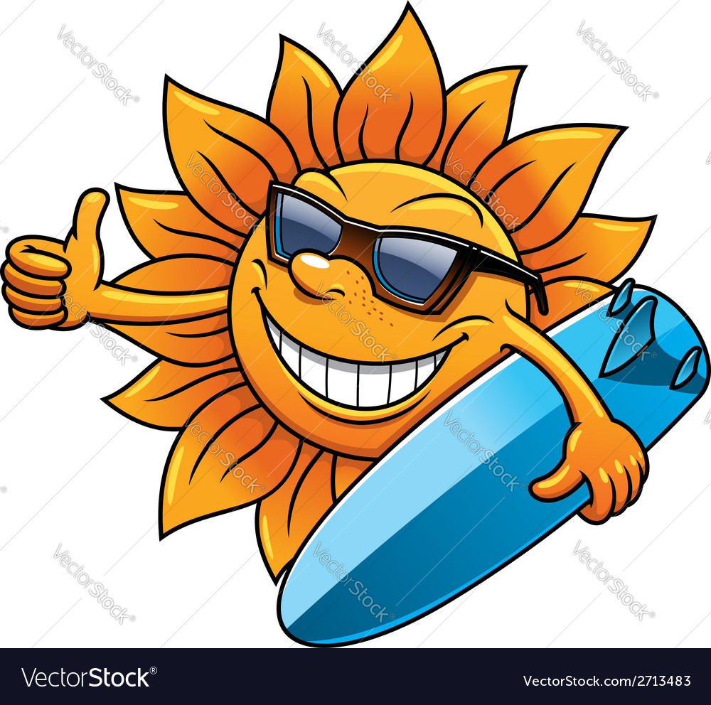 Cartoon sun character with sunglasses and vector | Price: 1 Credit (USD $1)
