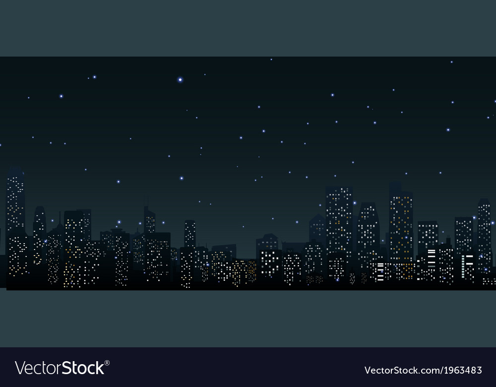 City skylines at night vector | Price: 1 Credit (USD $1)