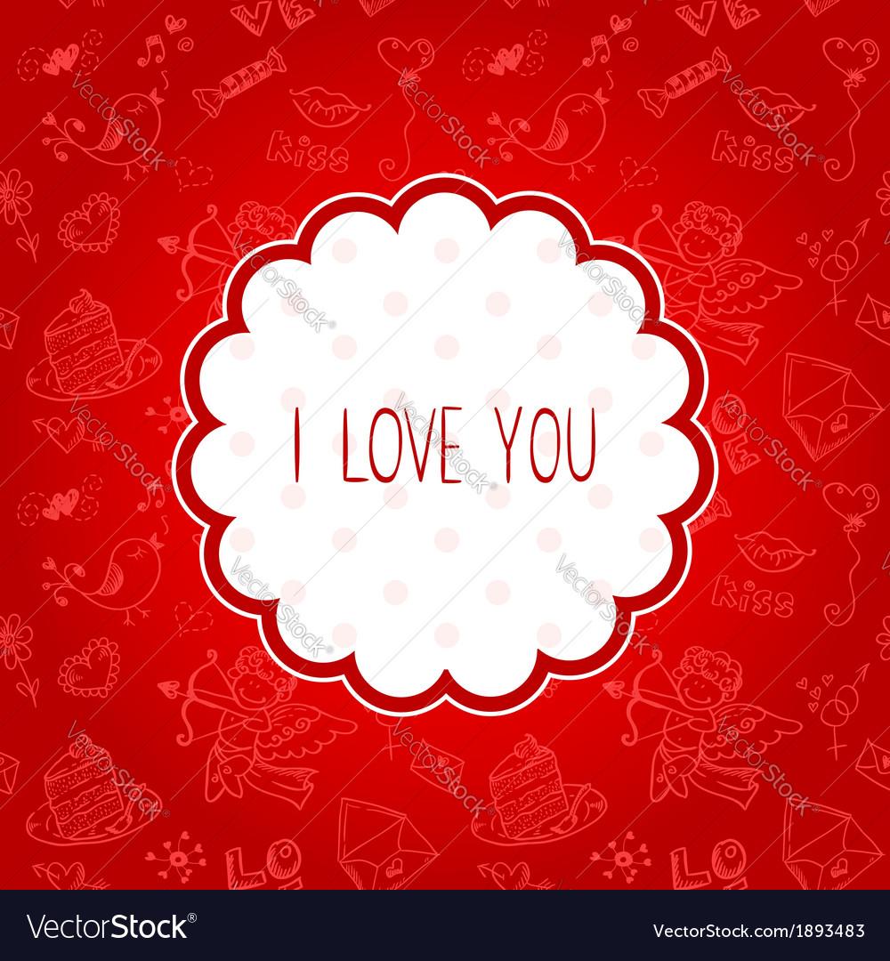 Doodle valentines day scrapbook love postcard vector   Price: 1 Credit (USD $1)