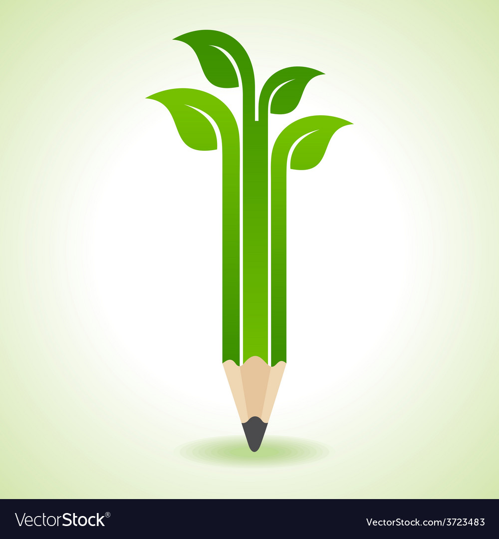 Ecology concept - pencil with leaf vector   Price: 1 Credit (USD $1)