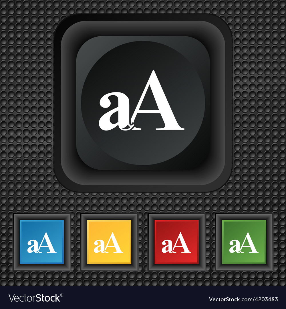 Enlarge font aa icon sign symbol squared colourful vector | Price: 1 Credit (USD $1)