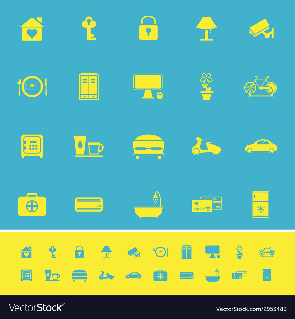 General home stay color icons on blue background vector | Price: 1 Credit (USD $1)