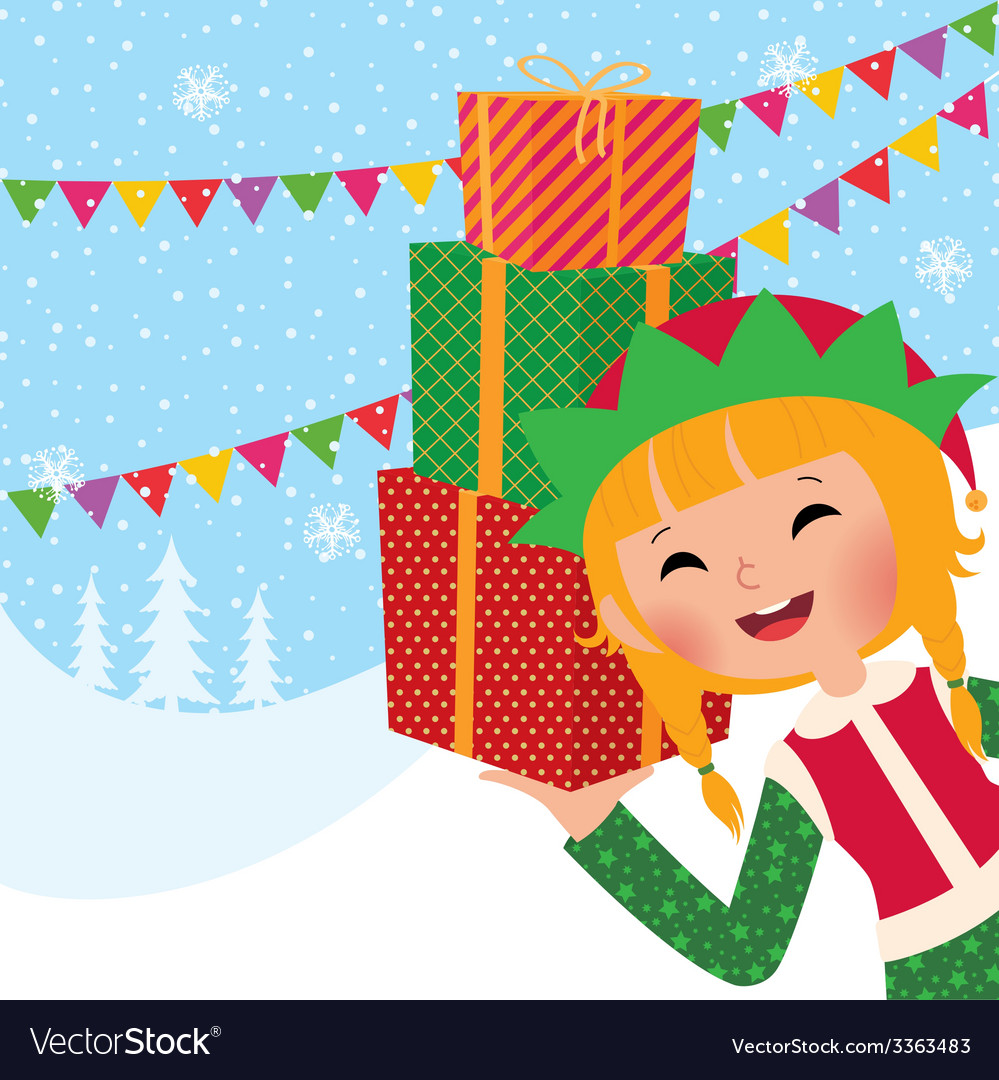 Girl christmas elf with gifts vector | Price: 1 Credit (USD $1)