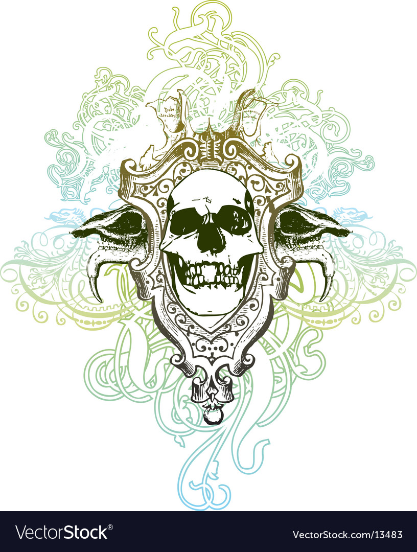 Heraldic skulls vector | Price: 1 Credit (USD $1)