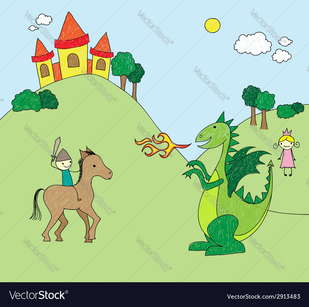 Kids drawing style dragon scene vector | Price: 1 Credit (USD $1)
