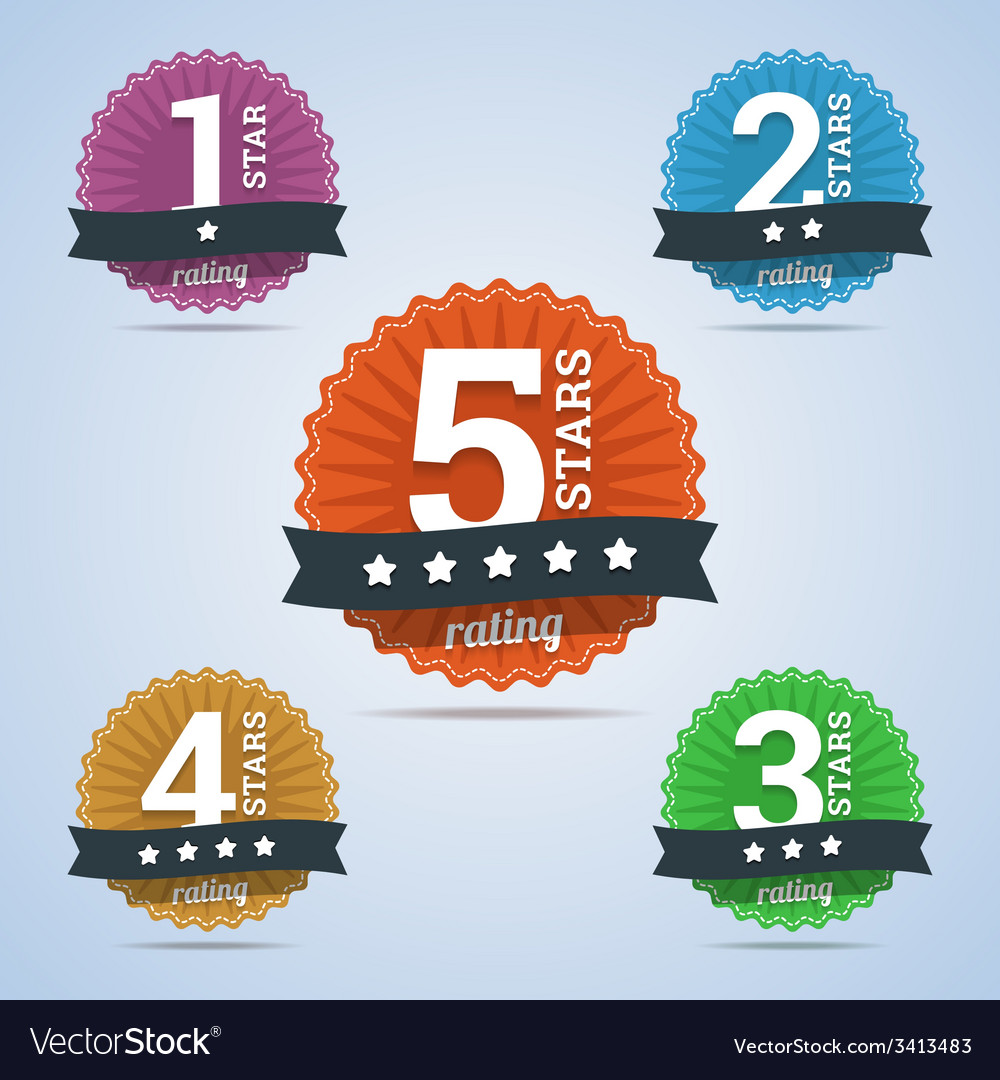 Rating badges from one to five stars vector | Price: 1 Credit (USD $1)