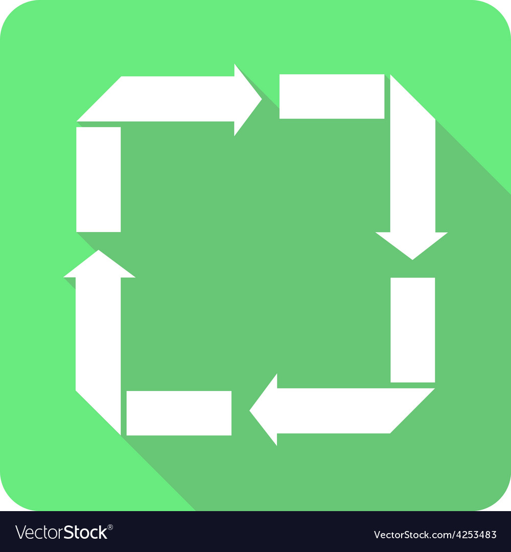 Recycle reduce reuse recover flat shadow icon vector | Price: 1 Credit (USD $1)