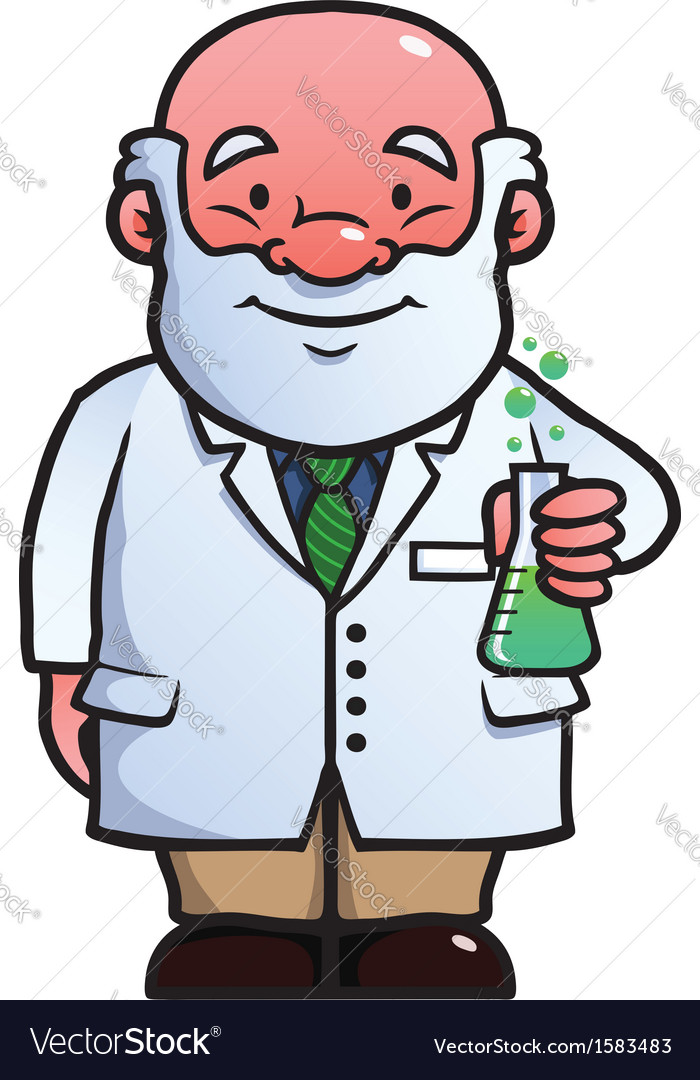 Scientist holding a flask vector | Price: 1 Credit (USD $1)
