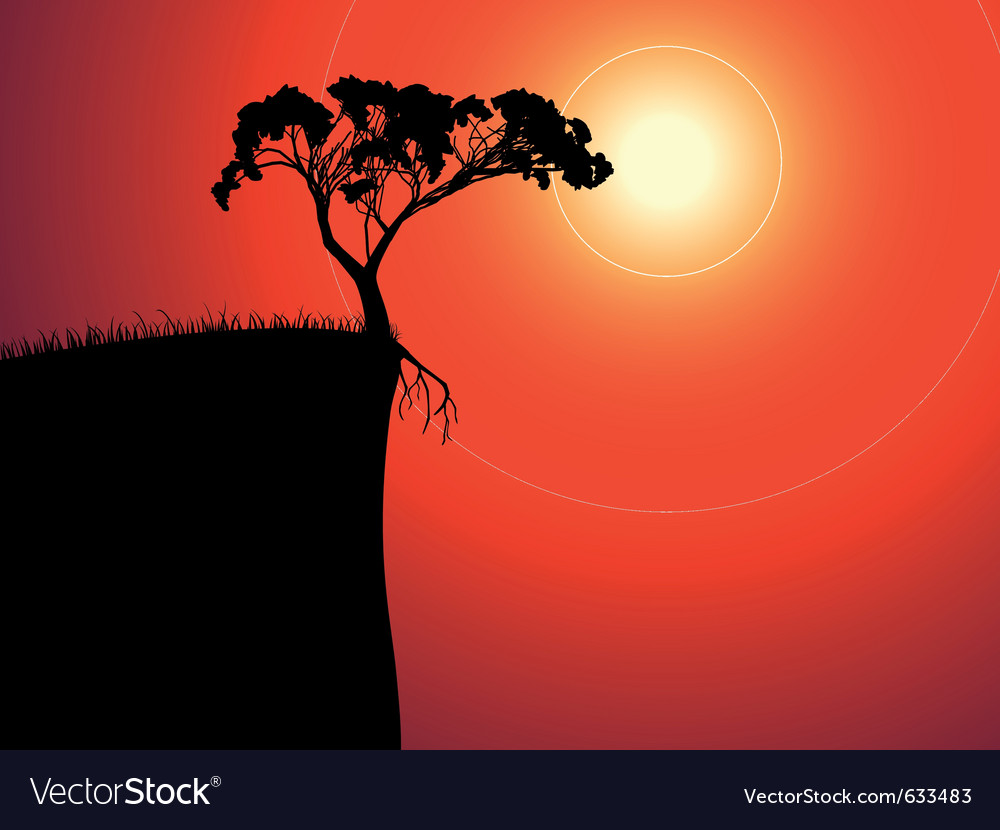 Single lonely tree on the brink vector | Price: 1 Credit (USD $1)