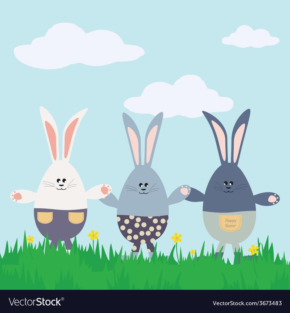 Three bunnies happy easter card vector | Price: 1 Credit (USD $1)