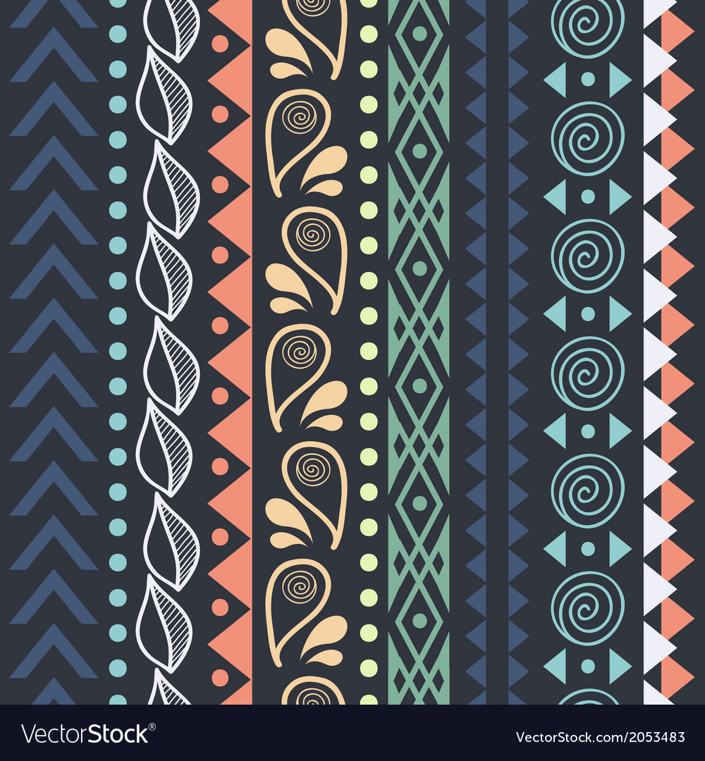 Tribal striped seamless pattern vector   Price: 1 Credit (USD $1)