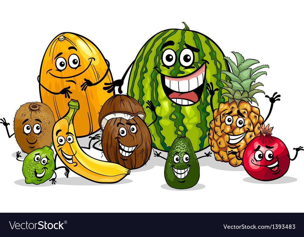 Tropical fruits group cartoon vector | Price: 1 Credit (USD $1)