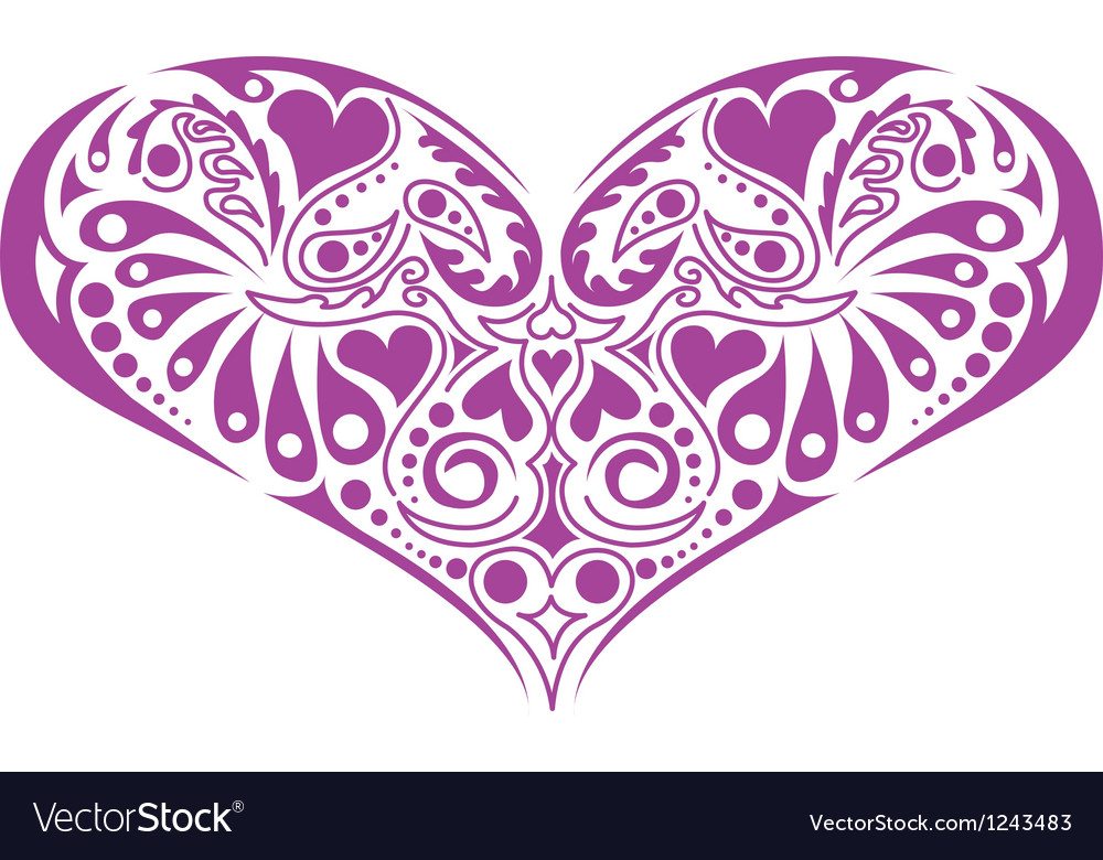 Victorian floral heart vector | Price: 1 Credit (USD $1)