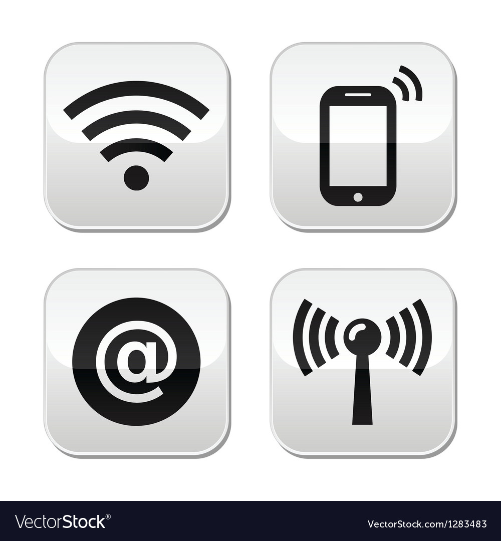 Wifi network internet zone buttons set vector | Price: 1 Credit (USD $1)