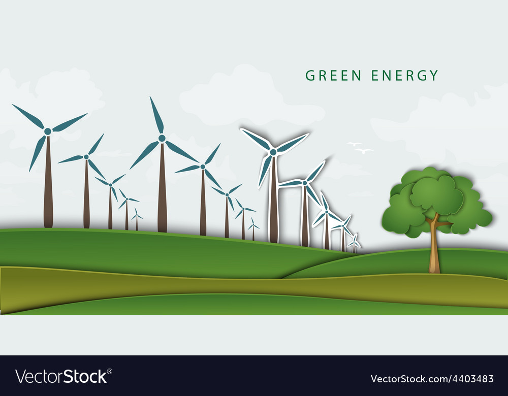 Wind turbines on clean field concept of clean vector | Price: 1 Credit (USD $1)