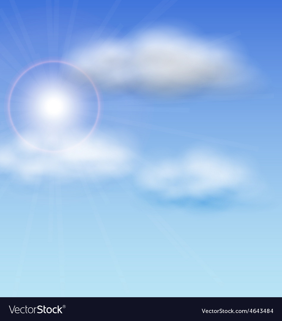 Blue sky with sunlight and fluffy clouds vector | Price: 1 Credit (USD $1)