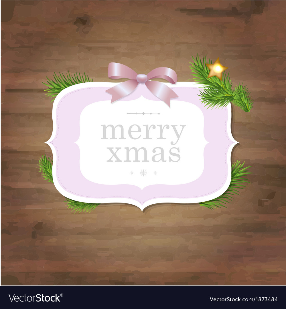 Christmas label with pink ribbon and wooden vector | Price: 1 Credit (USD $1)
