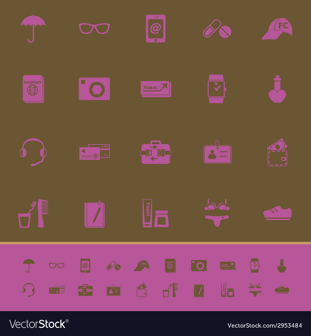 Travel luggage preparation color icons on brown vector | Price: 1 Credit (USD $1)