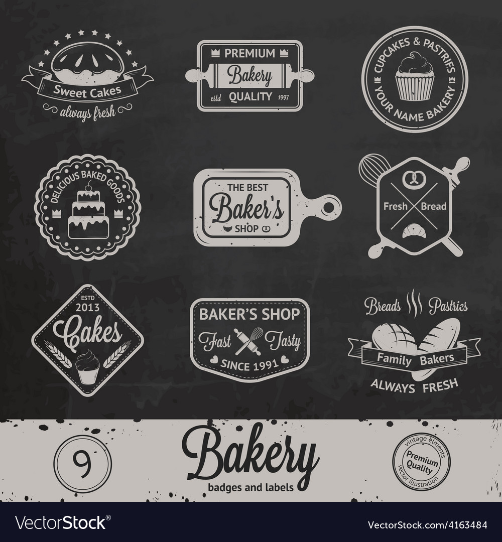 Vintage bakery badges labels and logos vector | Price: 1 Credit (USD $1)