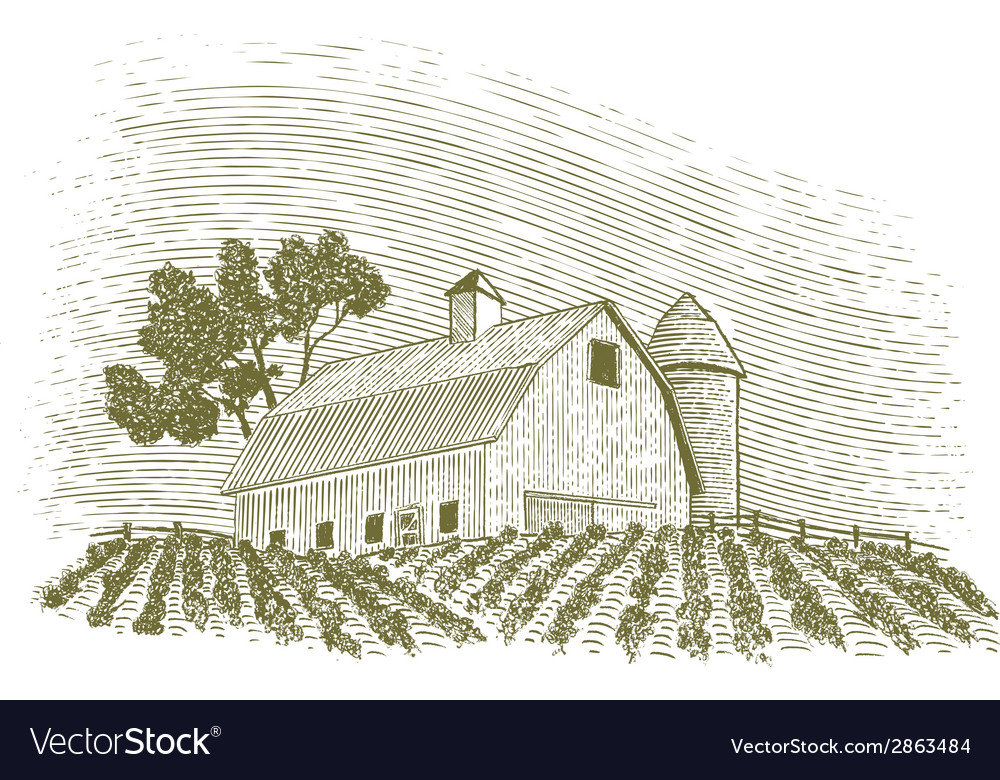 Woodcut barn and silo vector | Price: 1 Credit (USD $1)
