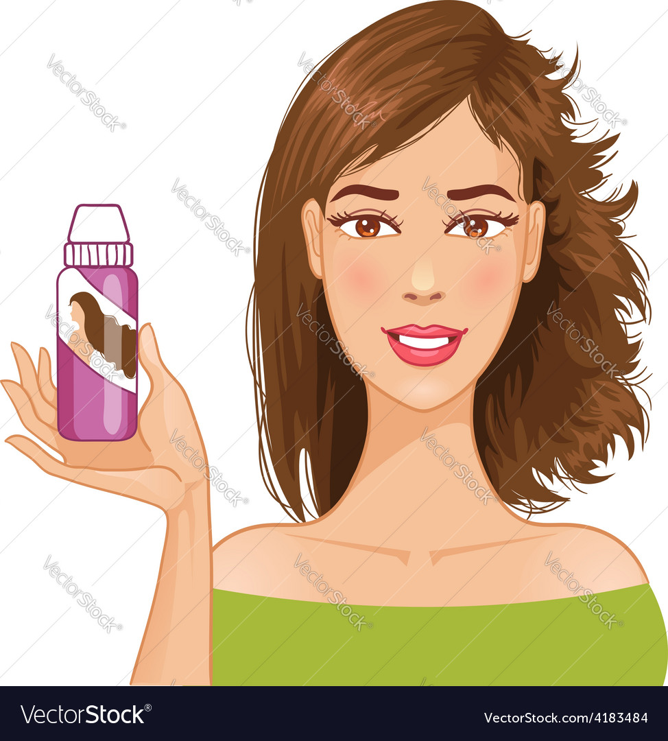 Young woman shows effect of shampoo vector | Price: 1 Credit (USD $1)