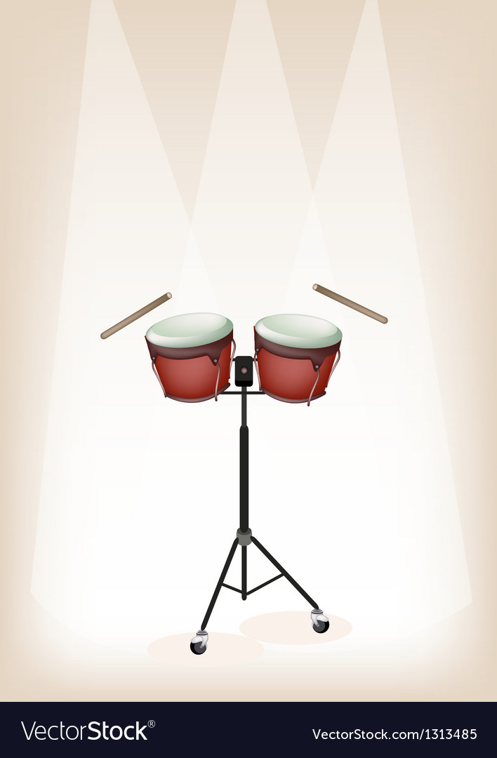 Bongo with stand on brown stage background vector | Price: 1 Credit (USD $1)