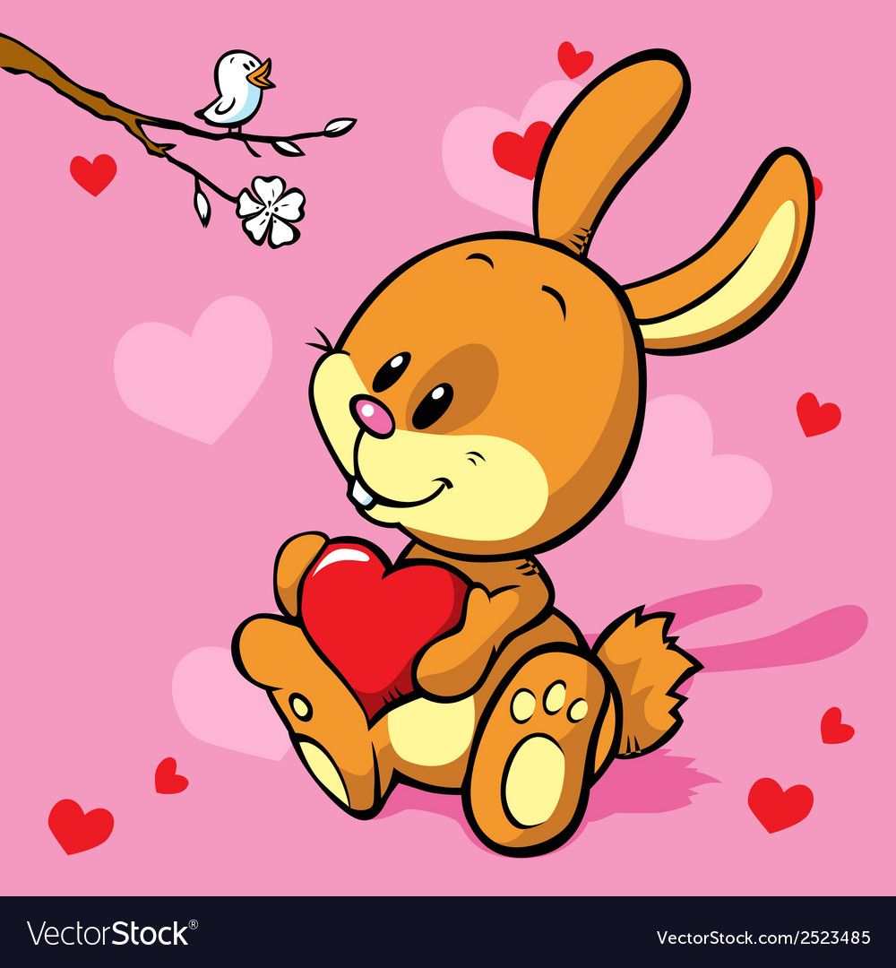 Bunny with heart vector | Price: 1 Credit (USD $1)