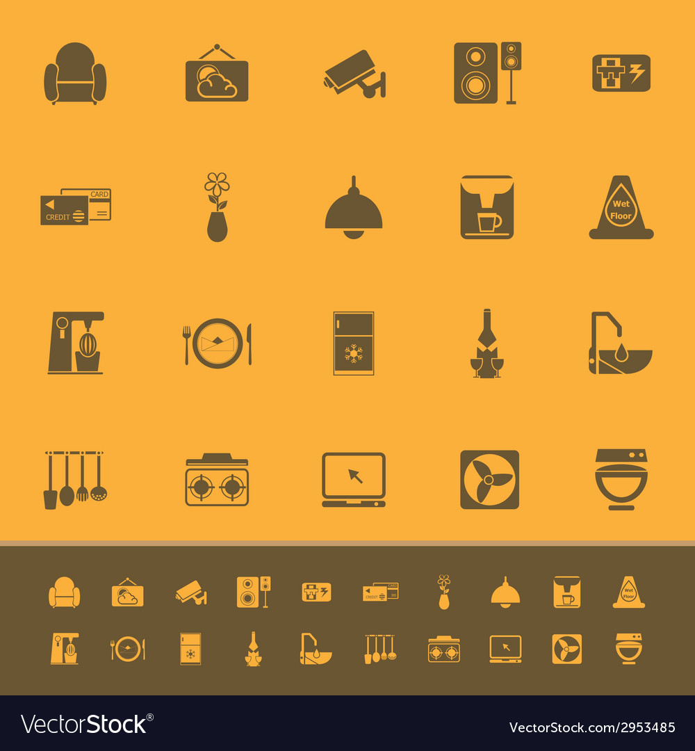 Cafe and restaurant color icons on orange vector | Price: 1 Credit (USD $1)