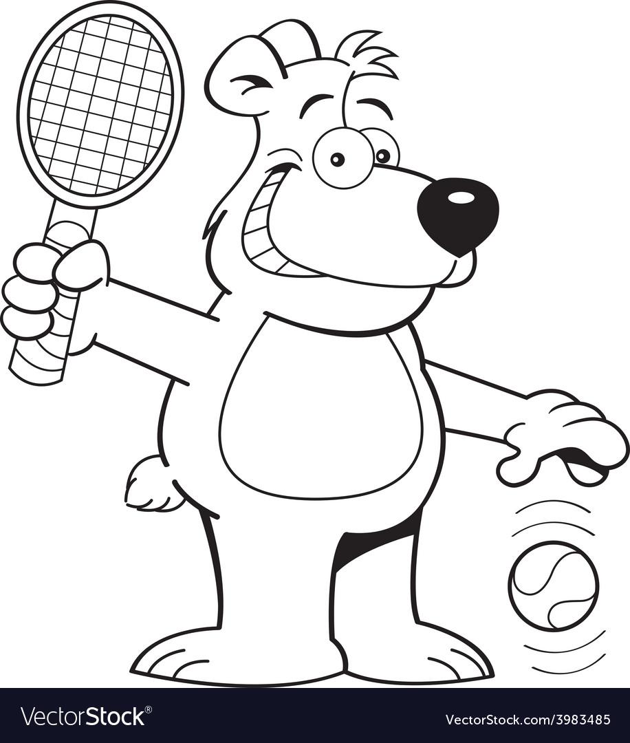 Cartoon bear playing tennis vector | Price: 1 Credit (USD $1)
