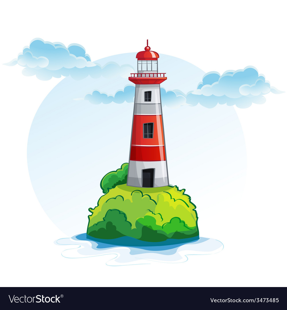 Cartoon image of the island with a lighthouse vector | Price: 3 Credit (USD $3)