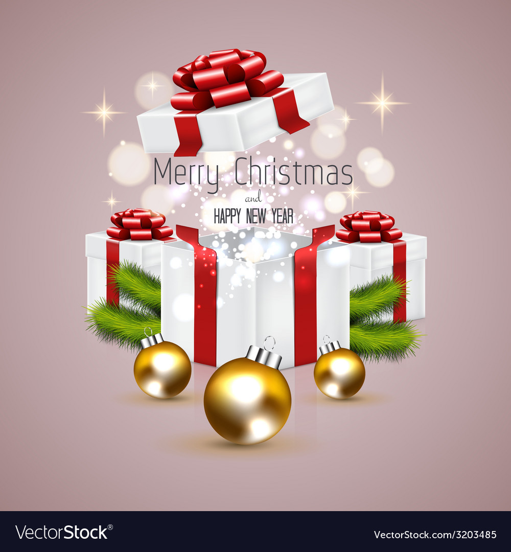 Christmas card and gift box vector