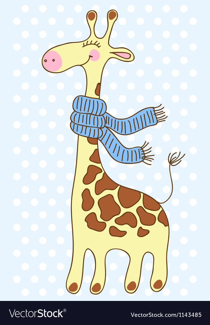 Cute happy giraffe with a scarf vector | Price: 1 Credit (USD $1)