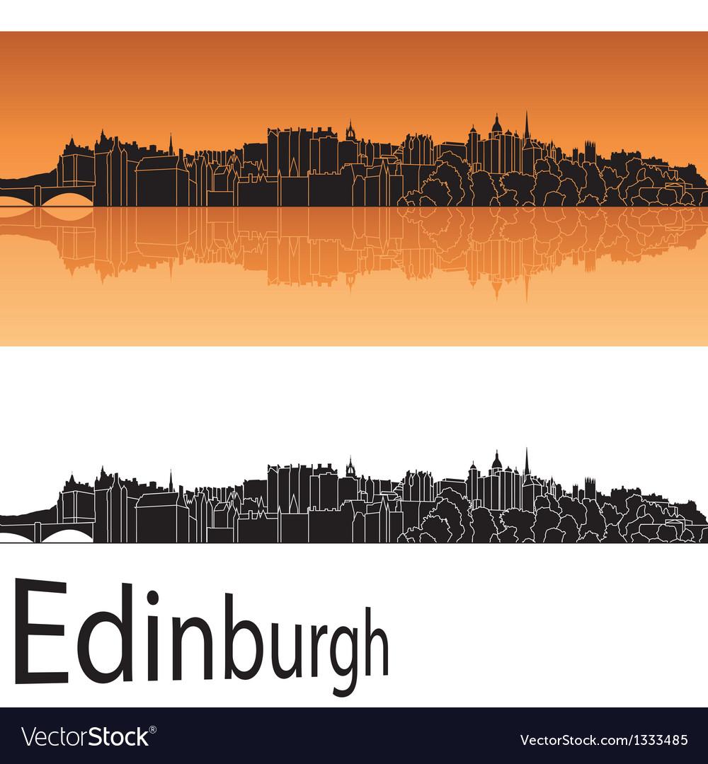 Edinburgh skyline in orange background vector | Price: 1 Credit (USD $1)