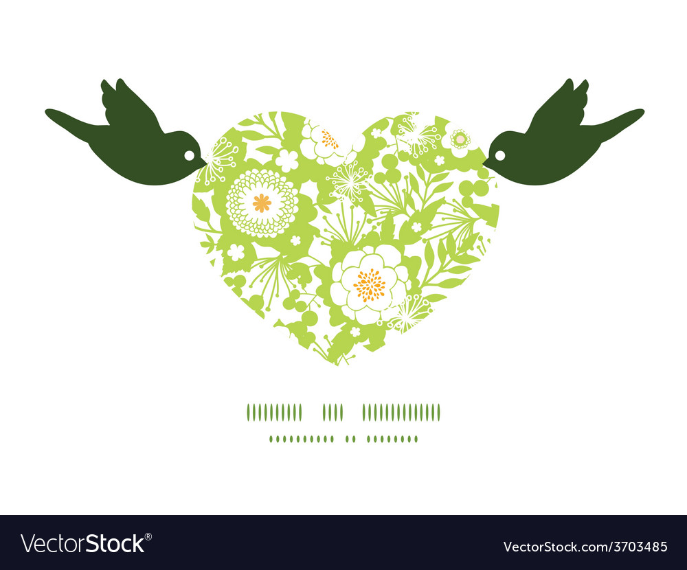 Green and golden garden silhouettes birds vector | Price: 1 Credit (USD $1)