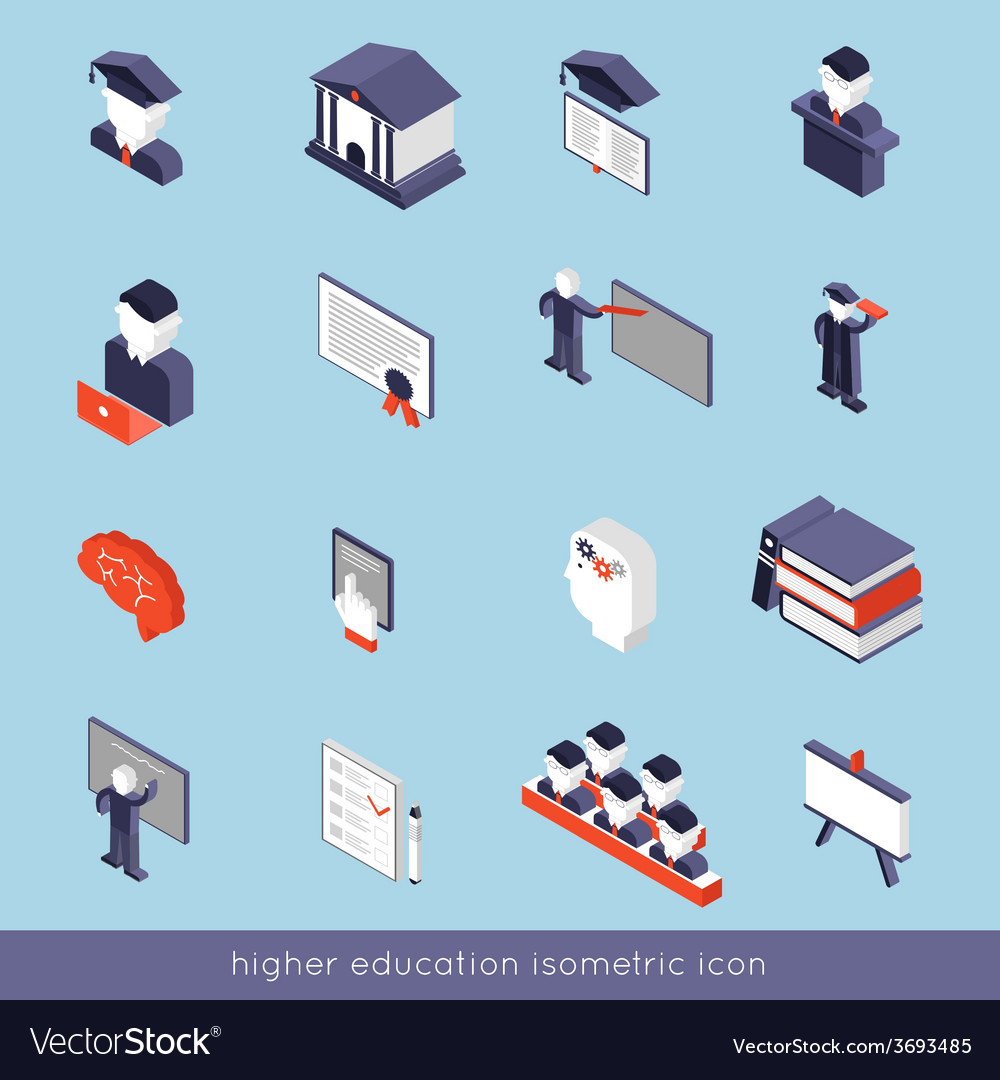 Higher education isometric set vector | Price: 1 Credit (USD $1)