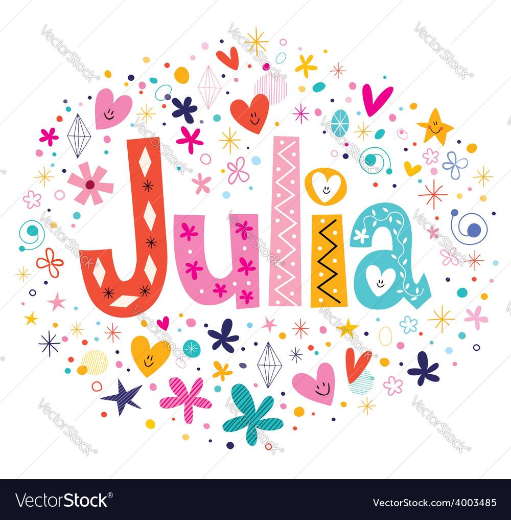 Julia female name decorative lettering type design vector | Price: 1 Credit (USD $1)