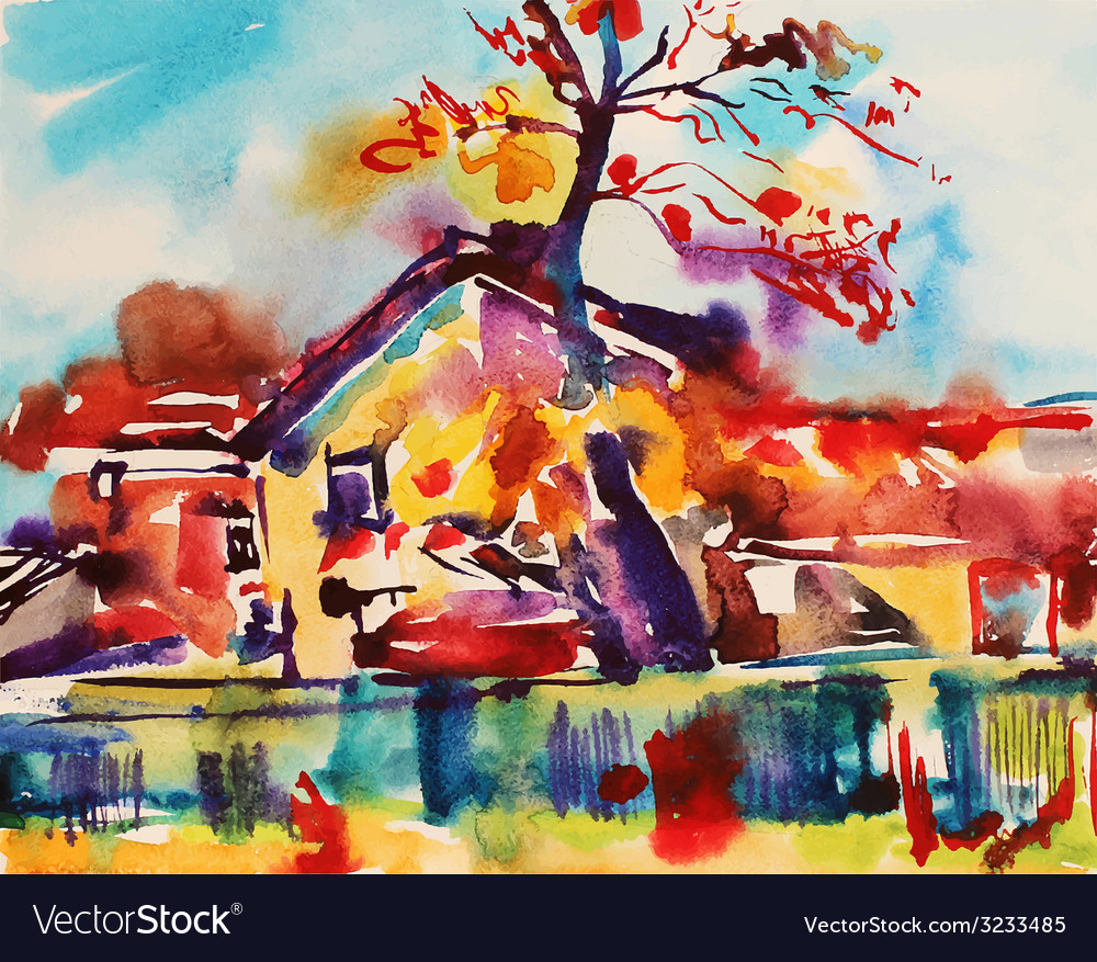 Original watercolor abstract rural landscape vector | Price: 1 Credit (USD $1)