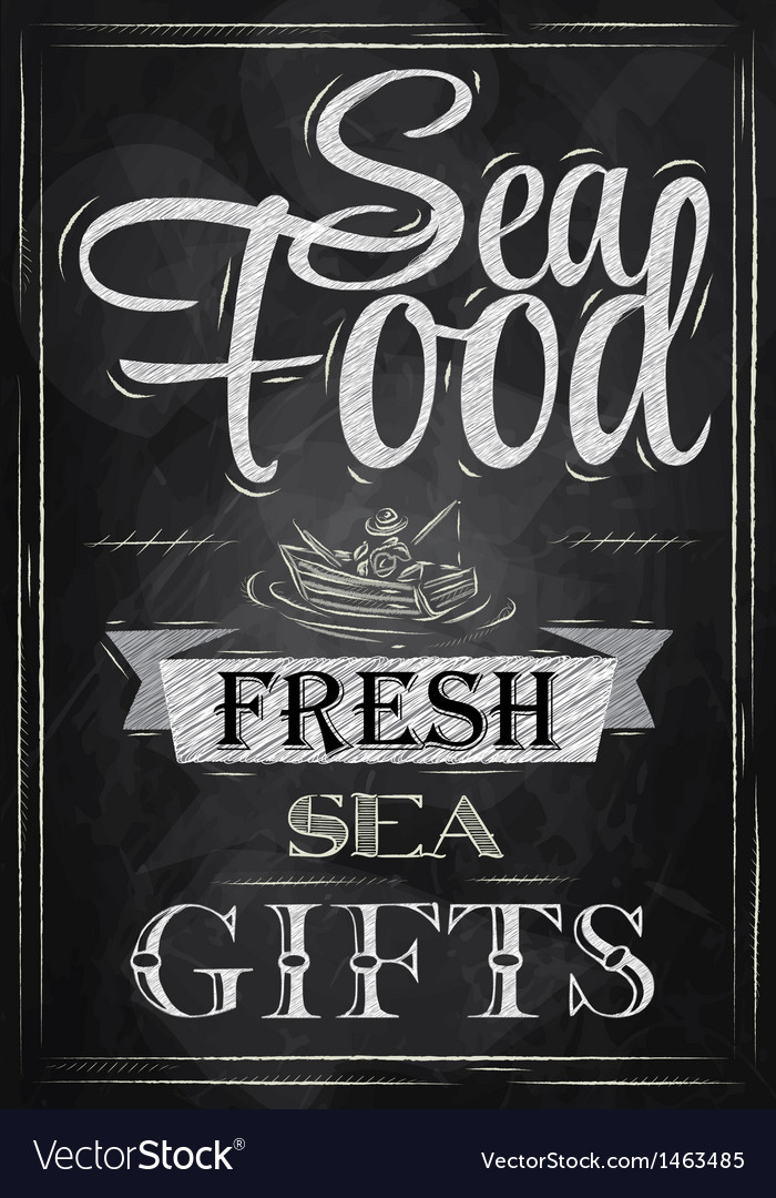 Poster sea food fresh sea gifts chalk vector | Price: 1 Credit (USD $1)