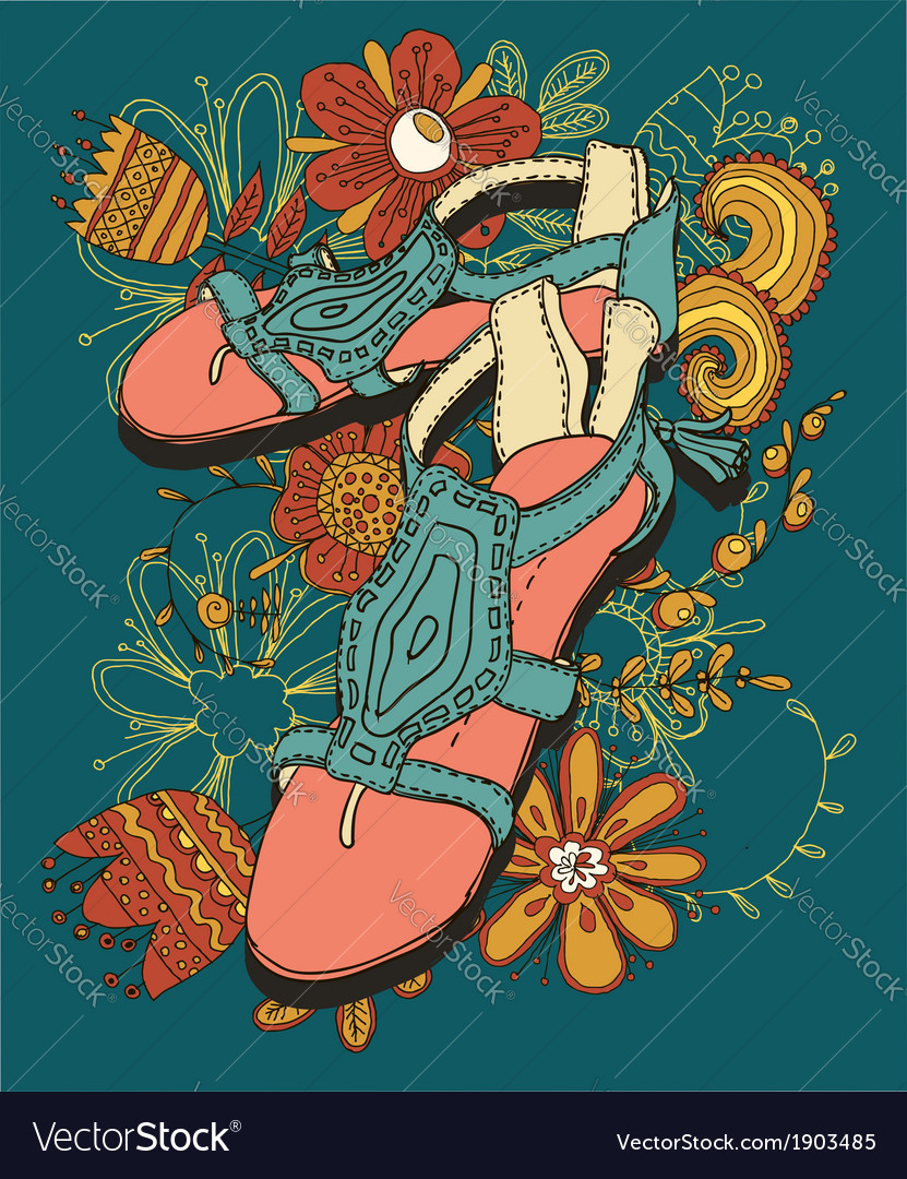 Sandals sketch vector | Price: 1 Credit (USD $1)
