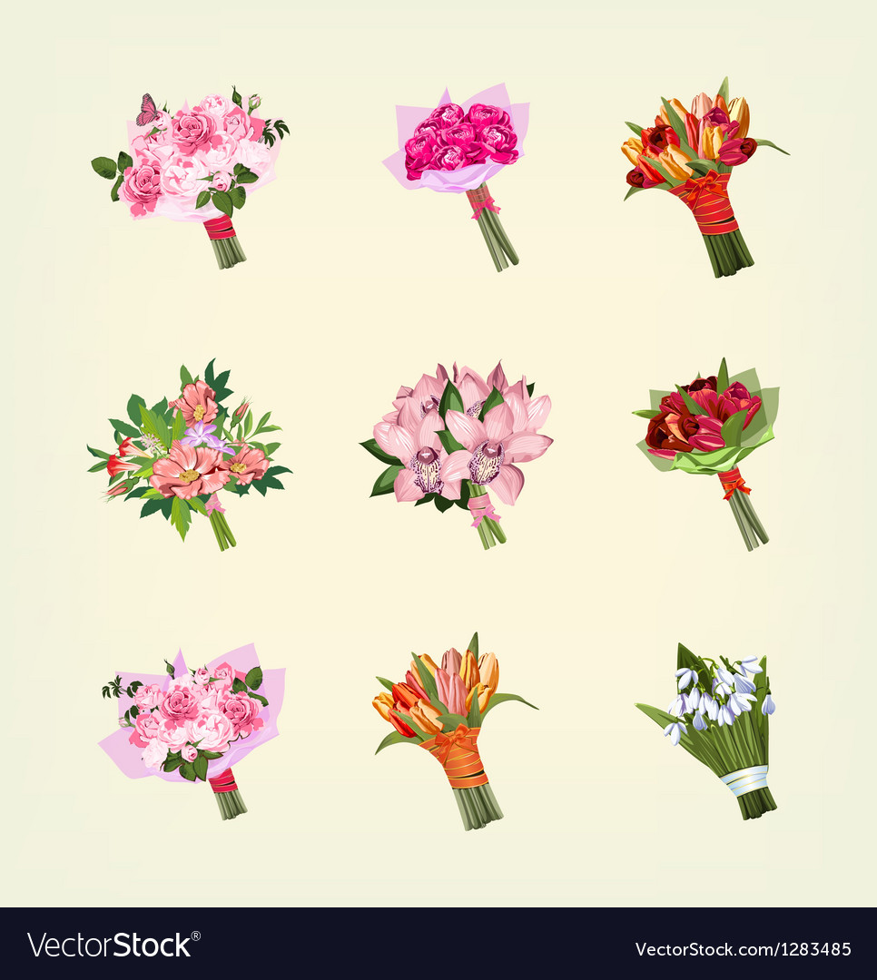 Set of many bouquets of flowers vector | Price: 3 Credit (USD $3)