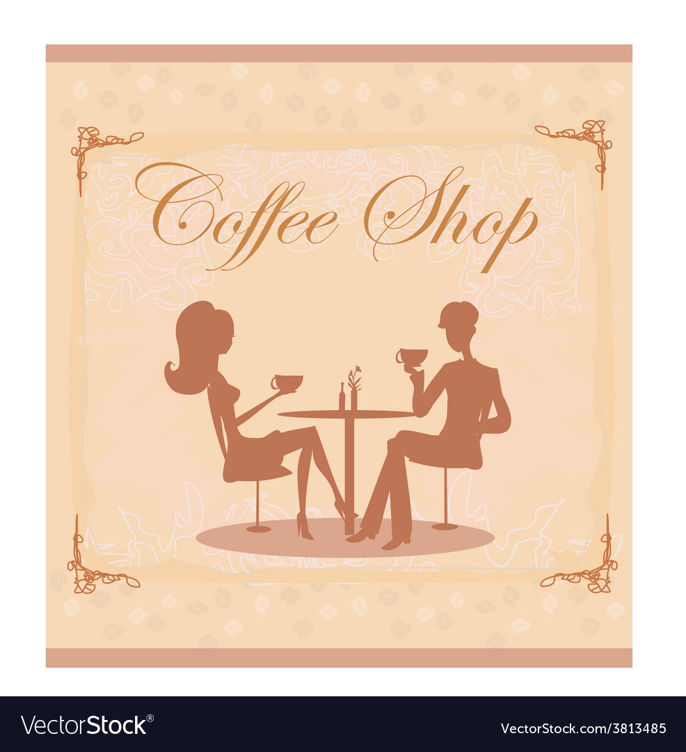 Silhouettes of couple sitting in cafe vector | Price: 1 Credit (USD $1)