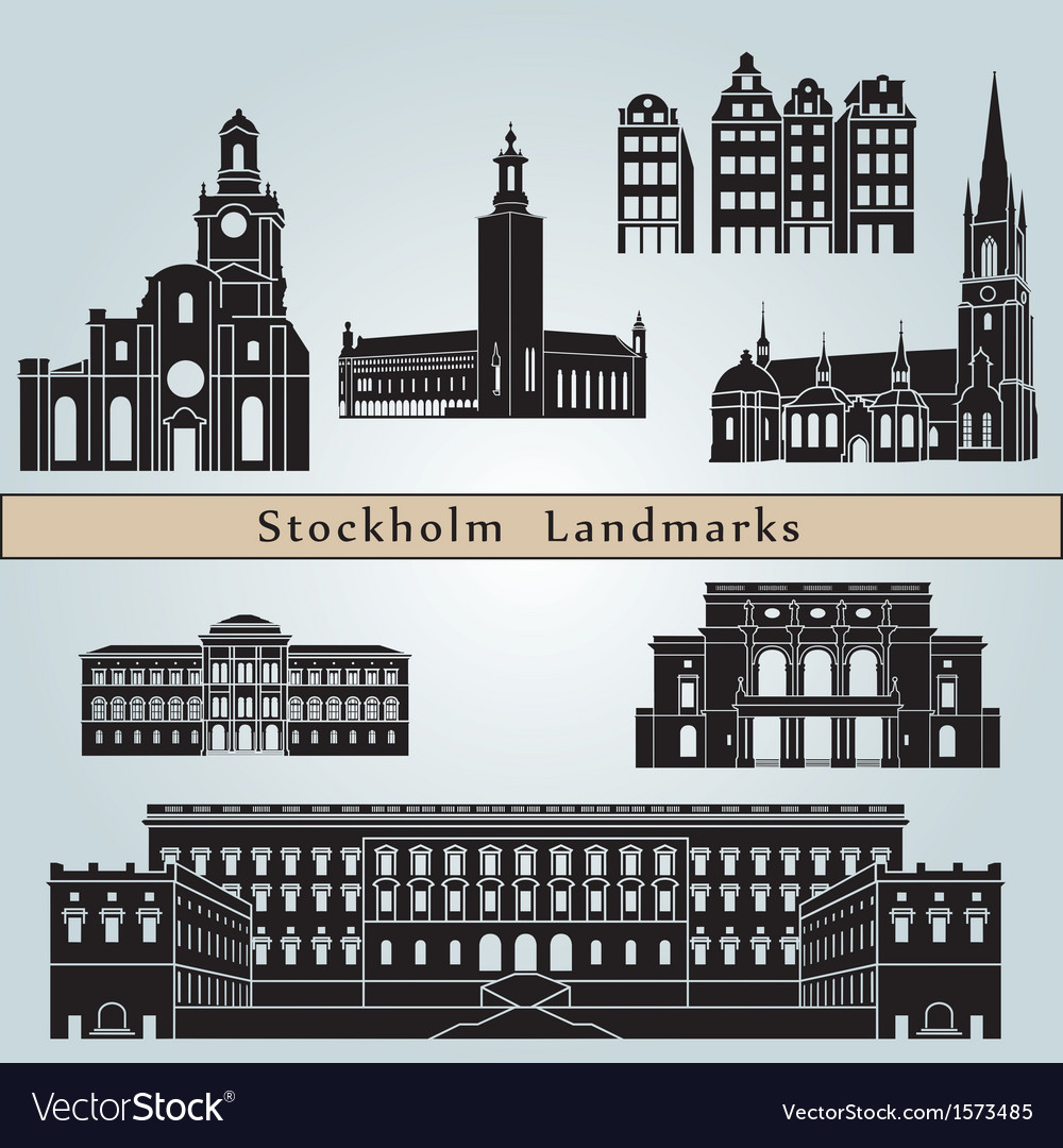 Stockholm landmarks and monuments vector | Price: 1 Credit (USD $1)