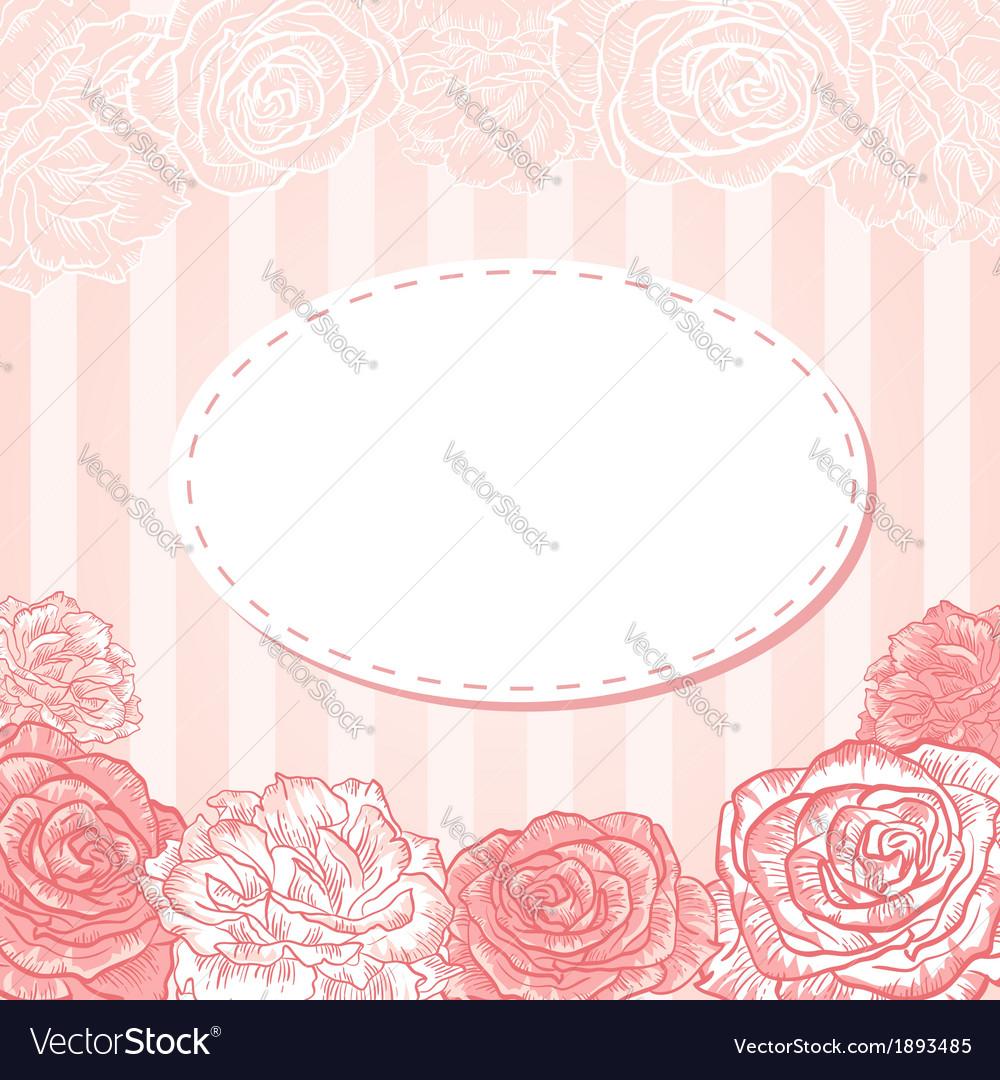 Valentine flower stripe invitation love card vector | Price: 1 Credit (USD $1)