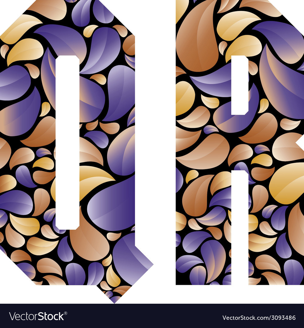Beautiful floral alphabet letters q and r vector | Price: 1 Credit (USD $1)