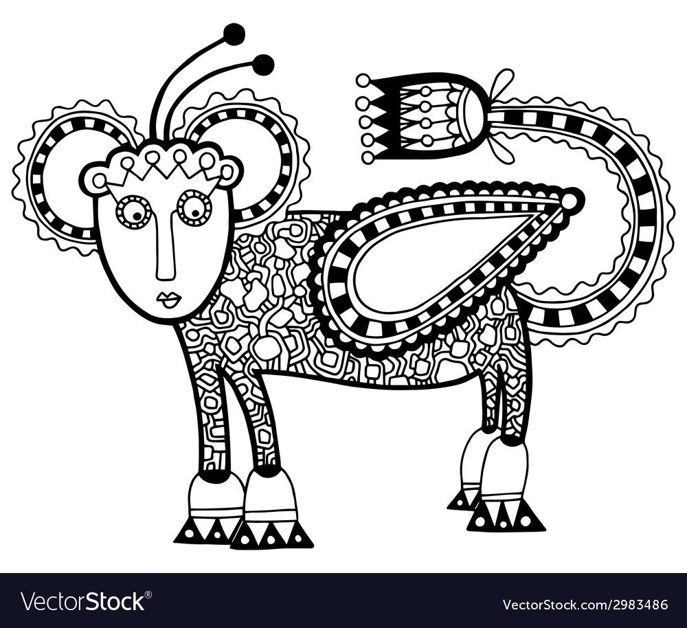 Black line art ornate animal flower design vector   Price: 1 Credit (USD $1)