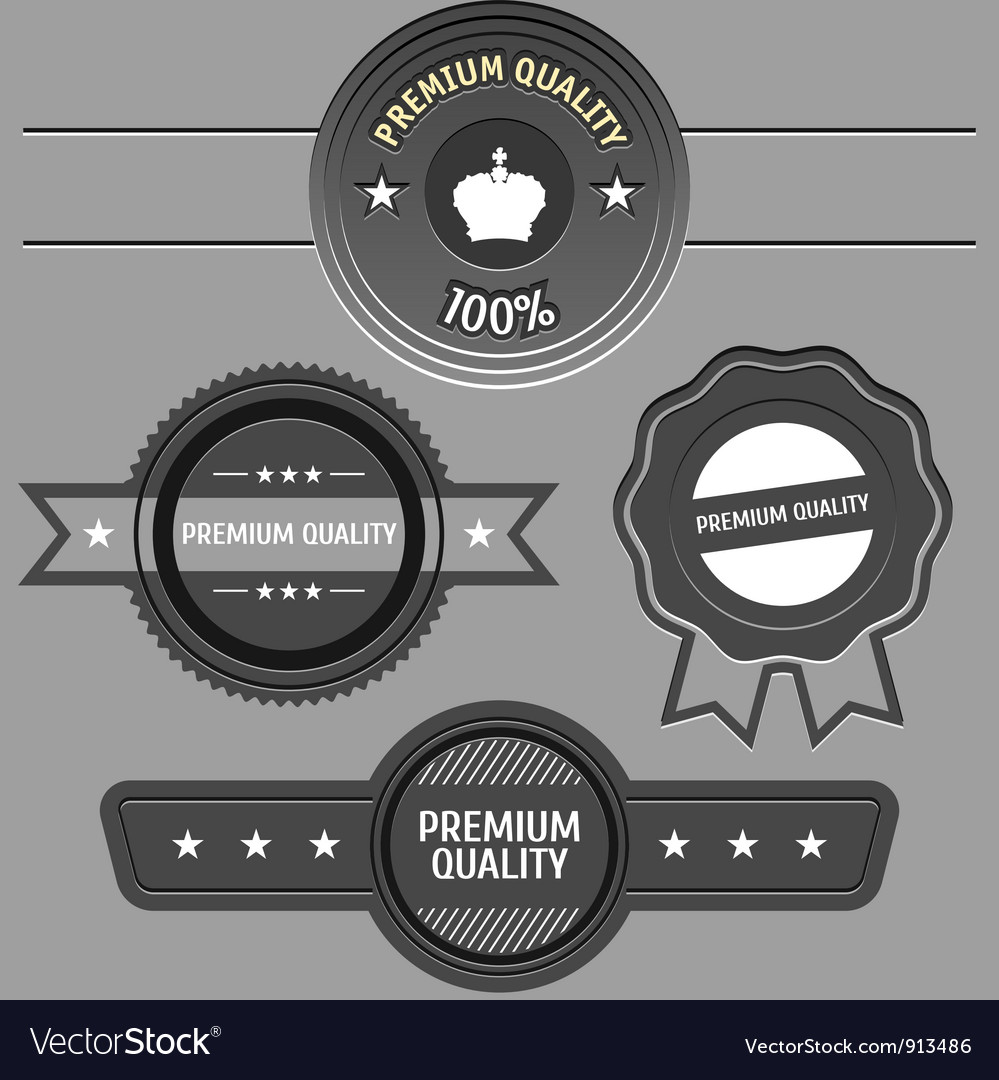 Collection of premium quality and guarantee labels vector | Price: 1 Credit (USD $1)