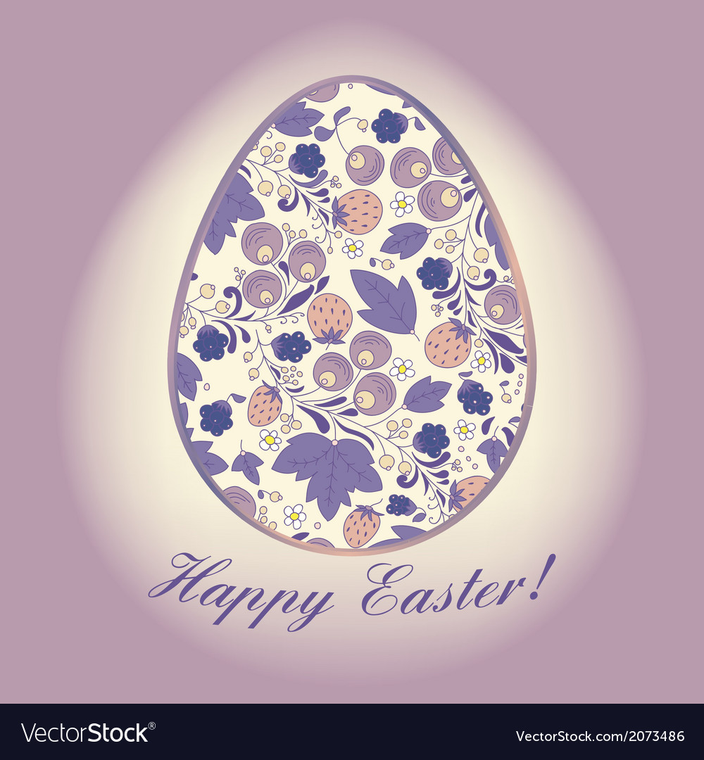 Easter egg with berry lilac greeting card vector   Price: 1 Credit (USD $1)