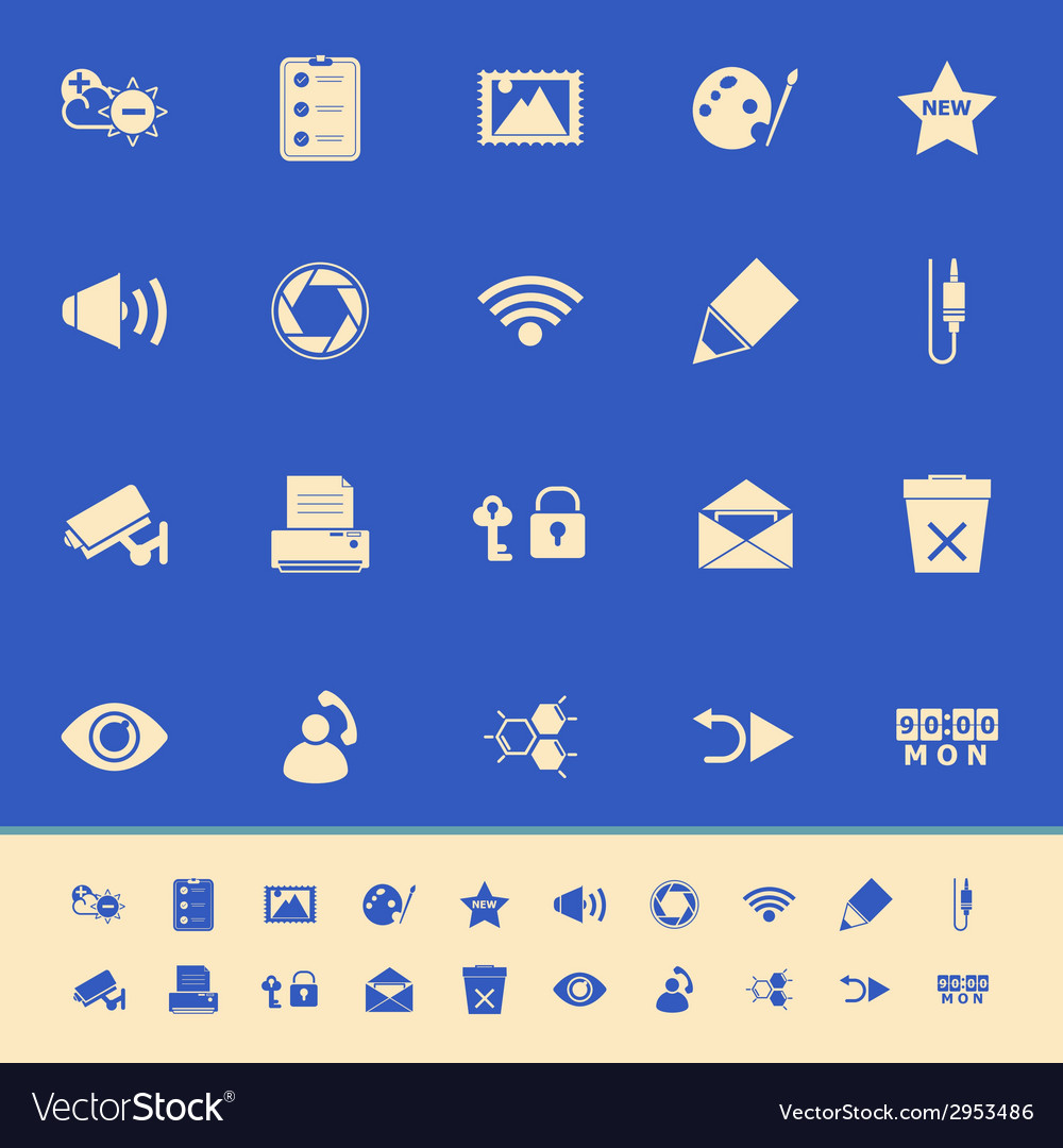 General computer screen color icons on blue vector | Price: 1 Credit (USD $1)