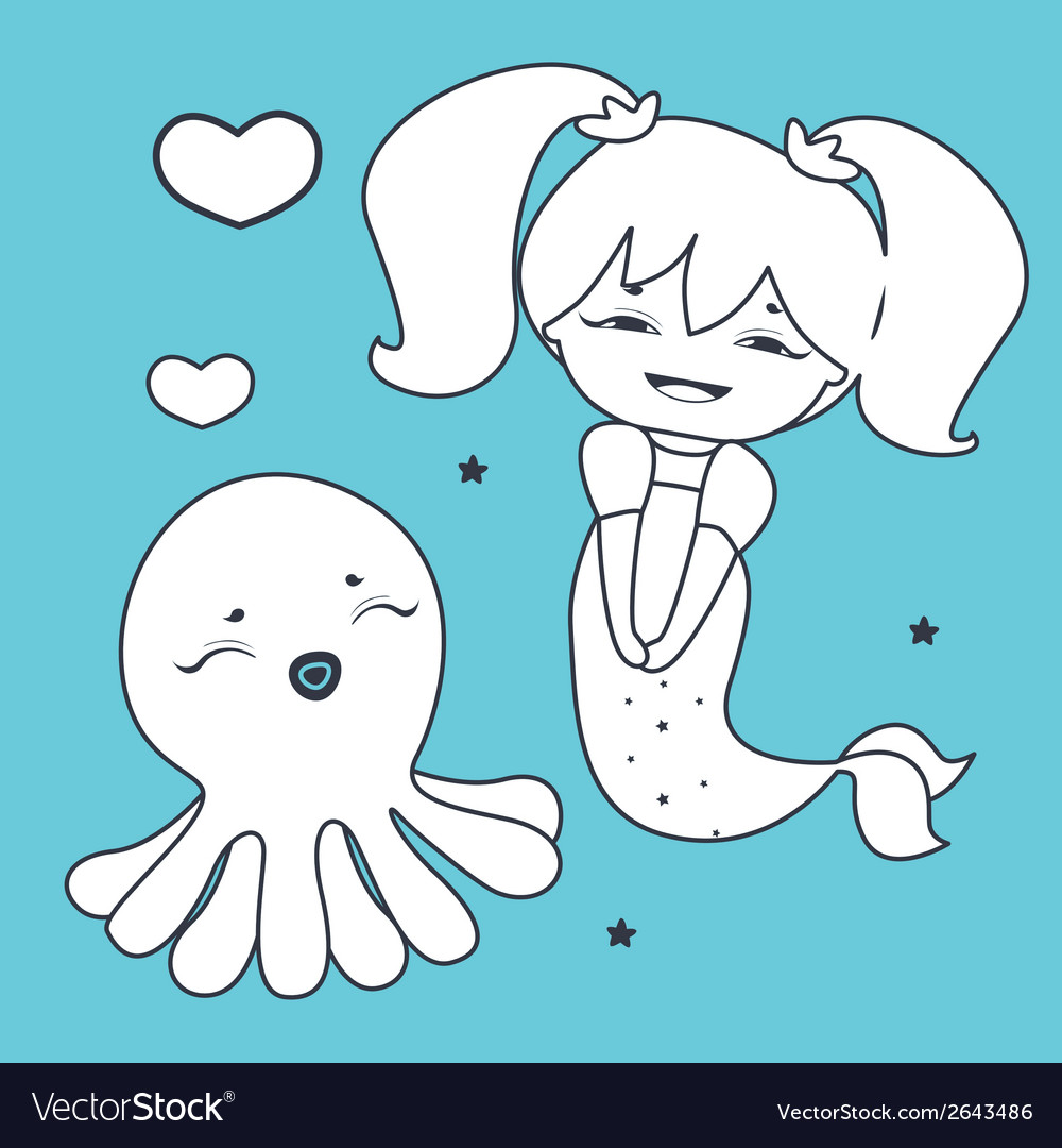 Lovely mermaid and octopus coloring book vector | Price: 1 Credit (USD $1)